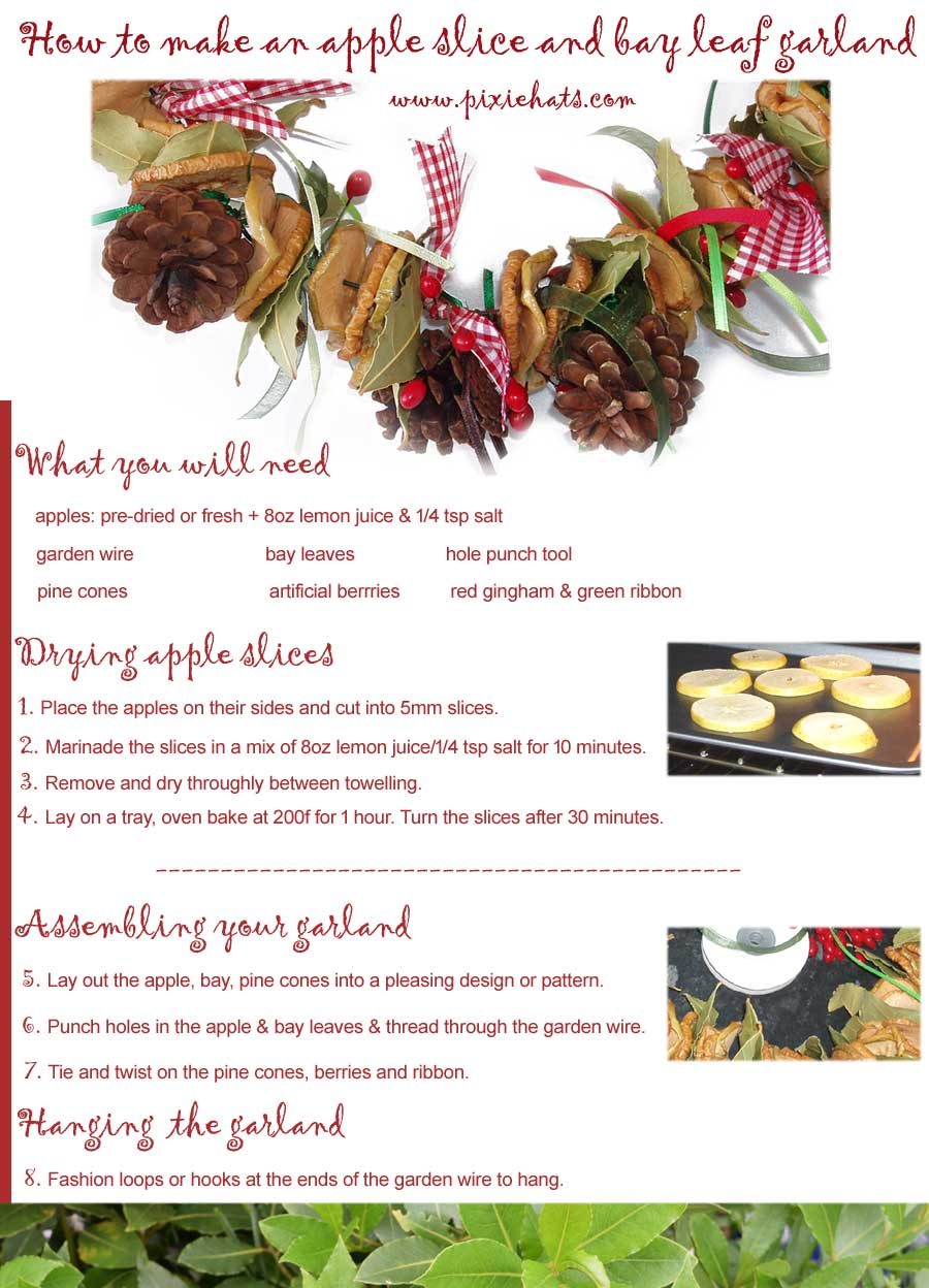 Printable guide for making your own apple slice and bay leaf garland for Christmas and Yule