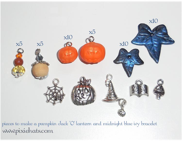 Items needed to make a Halloween pumpkin and ivy bracelet