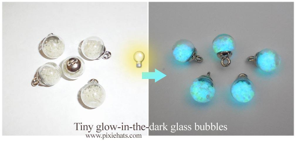 Glow in the dark glass bubble orbs
