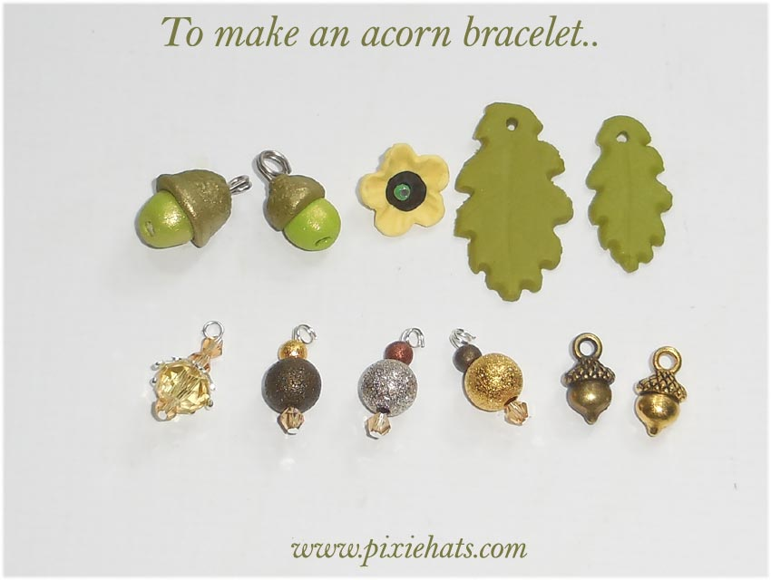 Items needed to make a green acorn bracelet