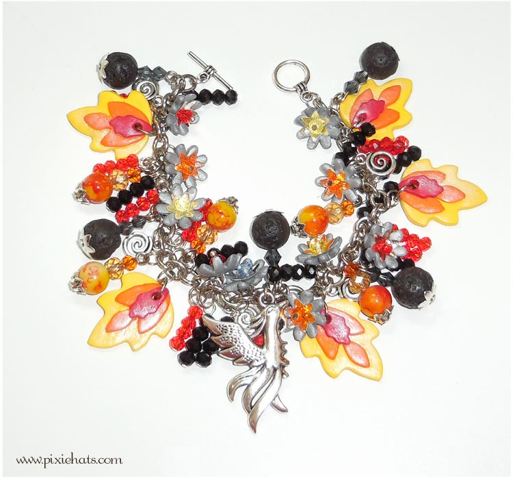 Phoenix flame, fire ane ember bracelet - handmade polymer clay beads and charms