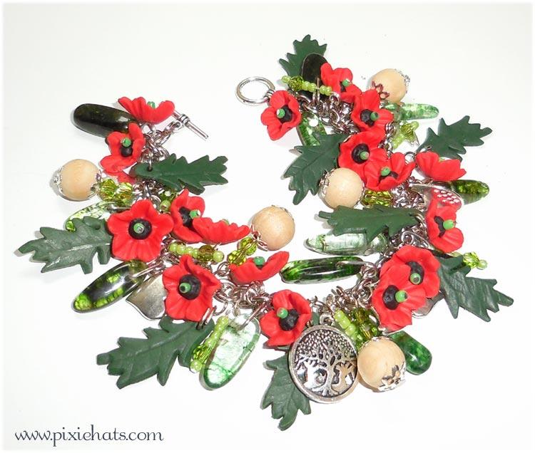 Poppy bracelet - handmade polymer clay flower charms