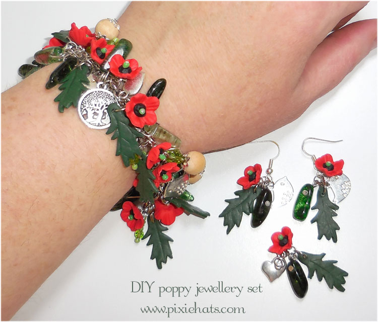 Make your own poppy bead and charm jewellery set