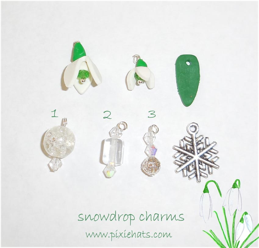 Items needed to make a spring time snowdrop flower bracelet
