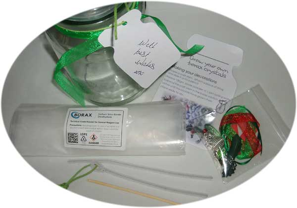 Gift set to grow and decorate borax crystal formations
