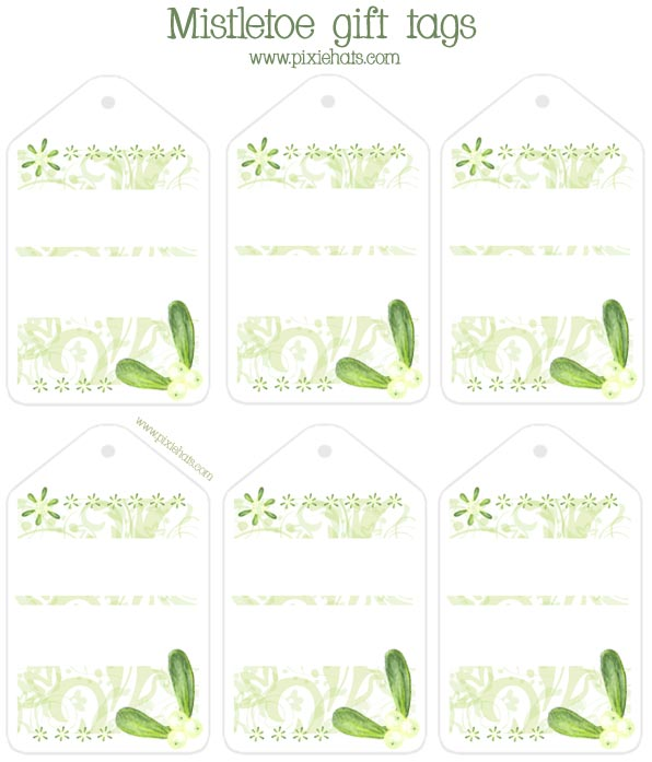 Mistletoe gift tag printable