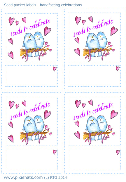 Seed  envelope labels for celebrations - hand fasting, weddings