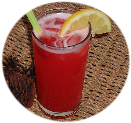 Refreshing chilled raspberry cordial
