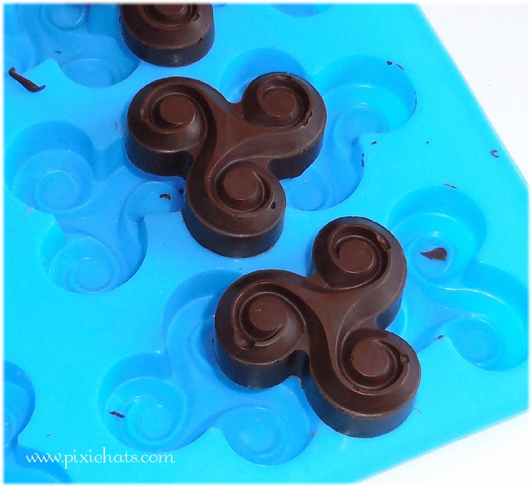 Handmade triple spiral shaped chaoclate treats for eating and cake decoration