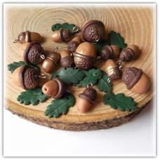 Acorn beads -brown