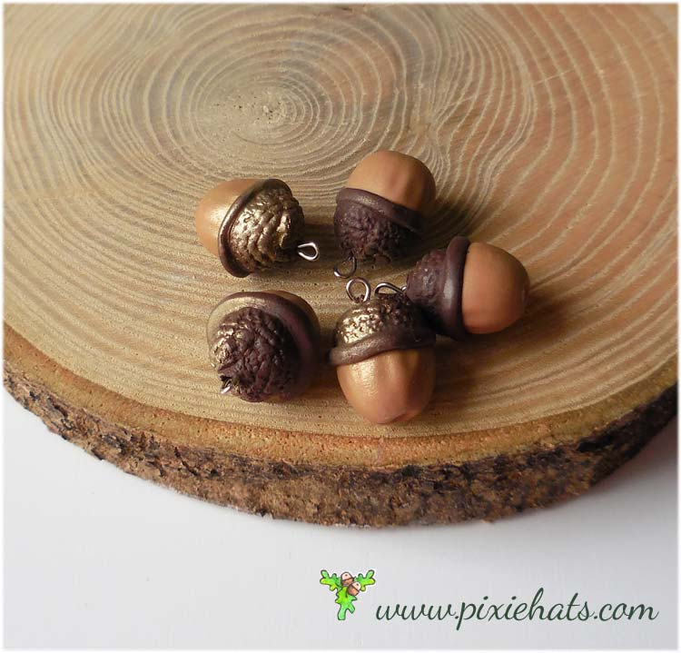5 large handmade polymer clay acorn beads - oak tree nut and cup charms