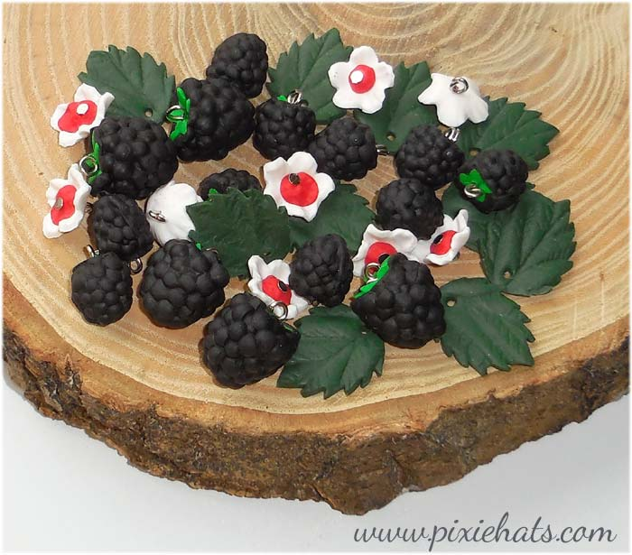 Blackberry beads, handmade charms for craft and jewellery making