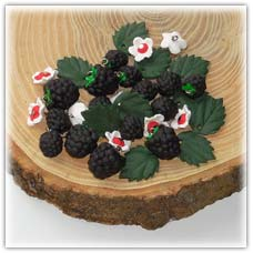 Blackberry beads blossom charms and brable leaves
