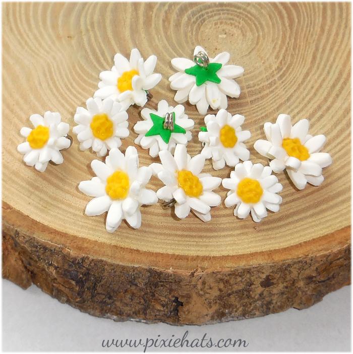 Daisy beads charms handmade polymer clay flowers