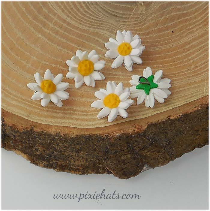 Double daisy beads - handmade charms for jewellery and crafts