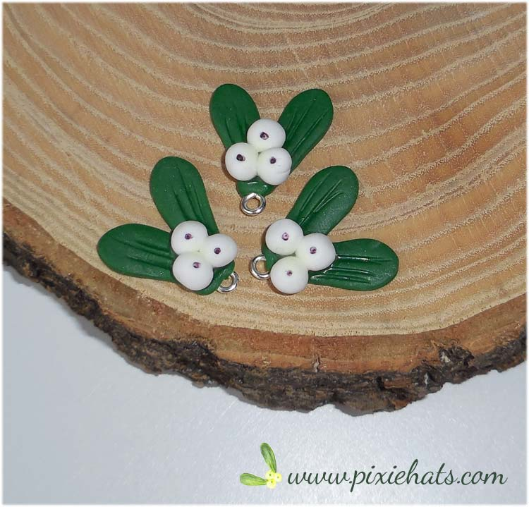 Mistletoe bead charms handmade from polymer clay