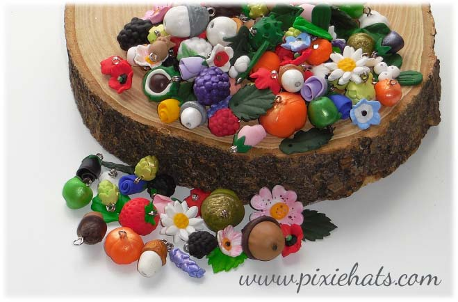 Handmade polymer clay beads and charms