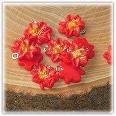 Poinsettia bead charms