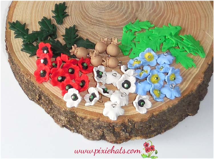 Poppy beads and seed head charms, leaves for craft and jewellery making