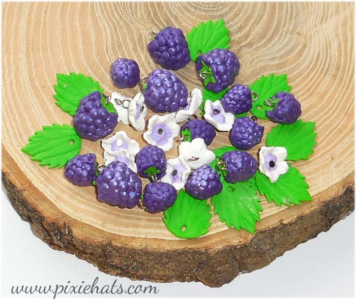 Purple grape berry beads and charms for craft and jewellery making
