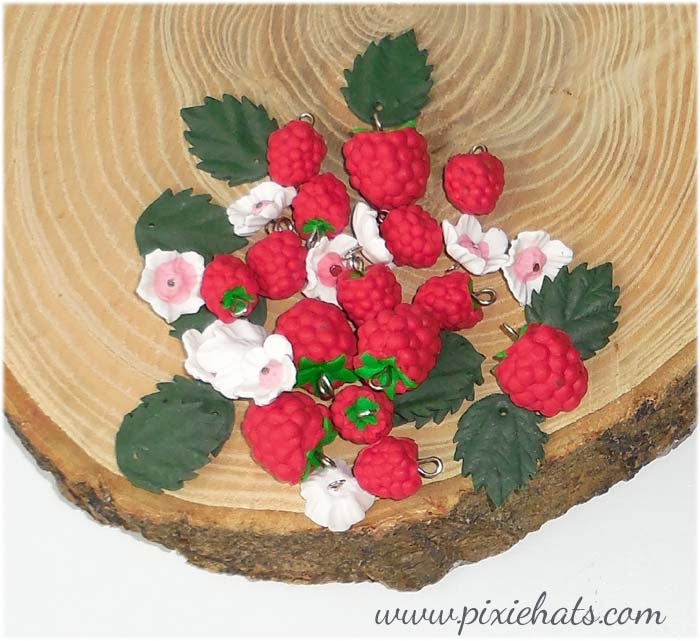Raspberry beads, handmade charms for craft and jewellery making