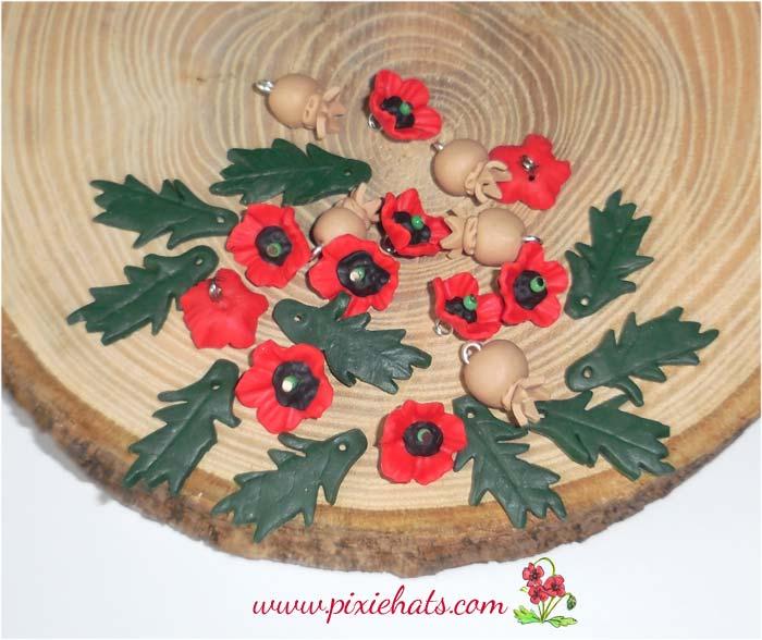 Red poppy bead set