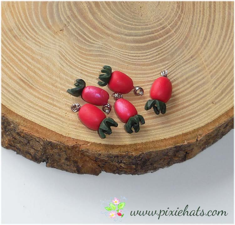 Wild rose hip beads - hedgerow craft charms