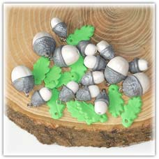 Silver acorn beads and light green oak leaves