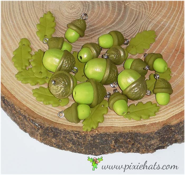 Green acorn beads spring time seasonal craft charms