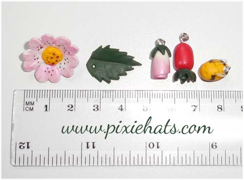 Size guide for the sweet briar wild rose bead charms