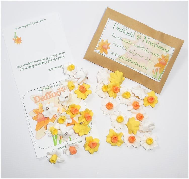 Daffodil Narcissus beads charms pendants and cabochons